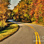 Blue Star Highway In Fall Poster