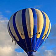 Blue Stripped Hot Air Balloon Poster
