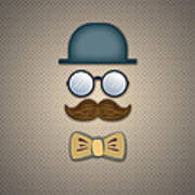 Blue Top Hat Moustache Glasses And Bow Tie Poster