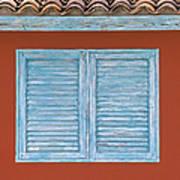 Blue Window Shutter Of Aruba Poster