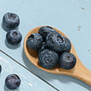 Blueberries On A Spoon Poster