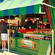 Blueberries Strawberry Jam Baskets Ferme Racine Petits Fruits Jean Talon Market Scene Carole Spandau Poster