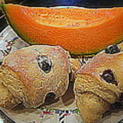 Blueberry Scones And Cantaloupe Poster