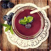 Blueberry Smoothie Retro Style Photo.  Poster