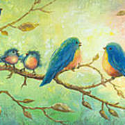 Bluebirds On Branches Poster