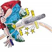 Bmx Drawing Peg Grind Poster