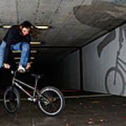 Bmx Flatland Monika Hinz Doing Awesome Trick With Her Bike Poster
