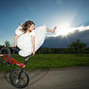 Bmx Flatland Rider Monika Hinz Jumps In Wedding Dress Poster