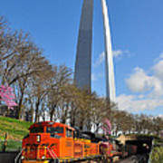 Bnsf Ore Train And St. Louis Gateway Arch Poster