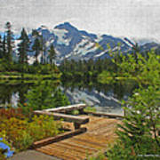 Board Walk- Lake- Fir Trees And Mount Baker Poster