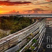 Boardwalk Sunrise Amelia Island Florida Poster