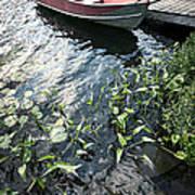 Boat At Dock On Lake Poster
