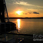Boat At Sunset Poster