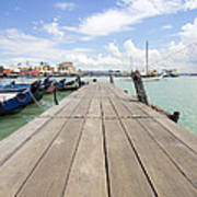 Boat Dock On Jetty In Penang Poster