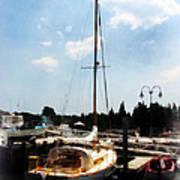 Boat - Docked Cabin Cruiser Poster