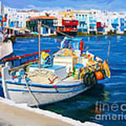 Boat In Greece Poster