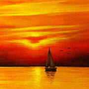Boat In The Sunset Poster