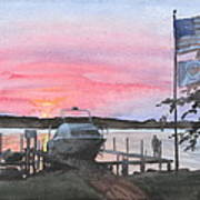 Boat Lake Sunset Watercolor Painting  Poster