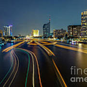 Boat Light Trails On Bangkok Chao Phraya River Poster