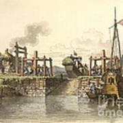 Boat Lock In China, 1800s Poster