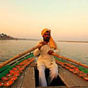 Boat Man On The Ganges River At Varanasi Poster