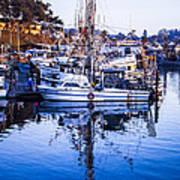 Boat Mast Reflection In Blue Ocean At Dock Morro Bay Marina Fine Art Photography Print Poster