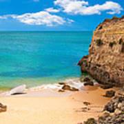 Boat On Beach Algarve Portugal Poster