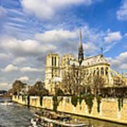 Boat Passing Notre Dame De Paris  Poster