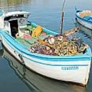 Boat Reflected In Sozopol Harbour Poster