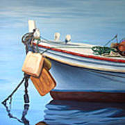 Boat Saida - Zaher Bizri Lebanes Artist - Art In Lebanon Poster