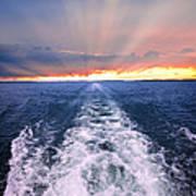Boat Wake On Georgian Bay  Poster