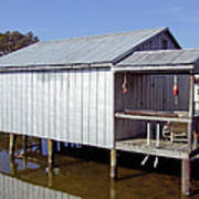 Boathouse At Low Tide Poster