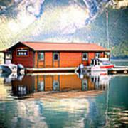 Boathouse Lake Minnewanka Ab Canada Poster
