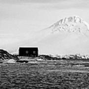 boathouse on goudier island port lockroy with doumer island hill Antarctica Poster