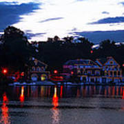 Boathouse Row Along The Schuylkill River At Dawn Poster