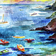 Boating In Italy Watercolor  Poster