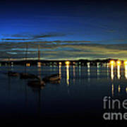 Boating - The Marina At Night Poster by Paul Ward