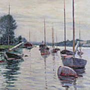 Boats Anchored On The Seine Poster by Gustave Caillebotte