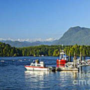 Boats At Dock In Tofino Poster
