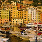 Boats At The Harbor, Camogli, Liguria Poster