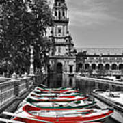 Boats By The Plaza De Espana Seville Poster by Mary Machare