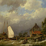 Boats Docking In An Estuary Poster