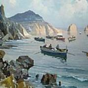 Boats In A Rocky Cove  Poster