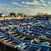 Boats In Essaouira Morocco Harbor Poster by David Smith