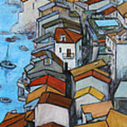 Boats In Front Of The Buildings Iv Poster by Xueling Zou
