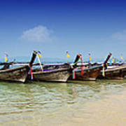 Boats In Thailand Poster by Zoe Ferrie