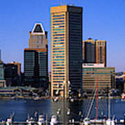 Boats Moored At Inner Harbor Viewed Poster