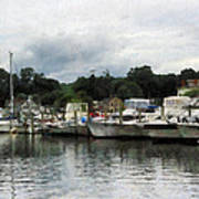 Boats On A Cloudy Day Essex Ct Poster