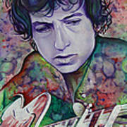 Bob Dylan-pink And Green Poster by Joshua Morton