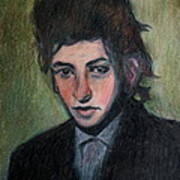 Bob Dylan Portrait In Colored Pencil  Poster
